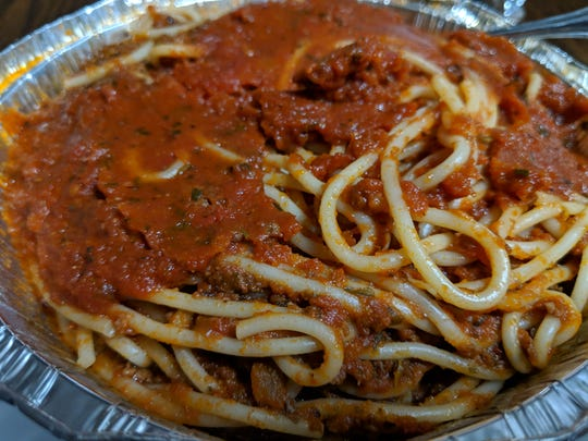 Spaghetti with meat sauce at Napoli's Italian Restaurant.