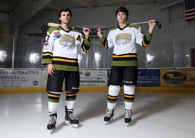 Sheridan High School baseball player Reece Trowbridge, left, and Tri-Valley High School golfer Drew Johnson play hockey for the Newark Generals.