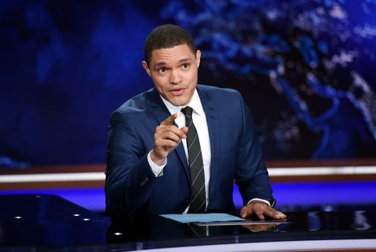 """Trevor Noah works on the set of """"The Daily Show"""" on Sept. 29, 2015 in New York."""