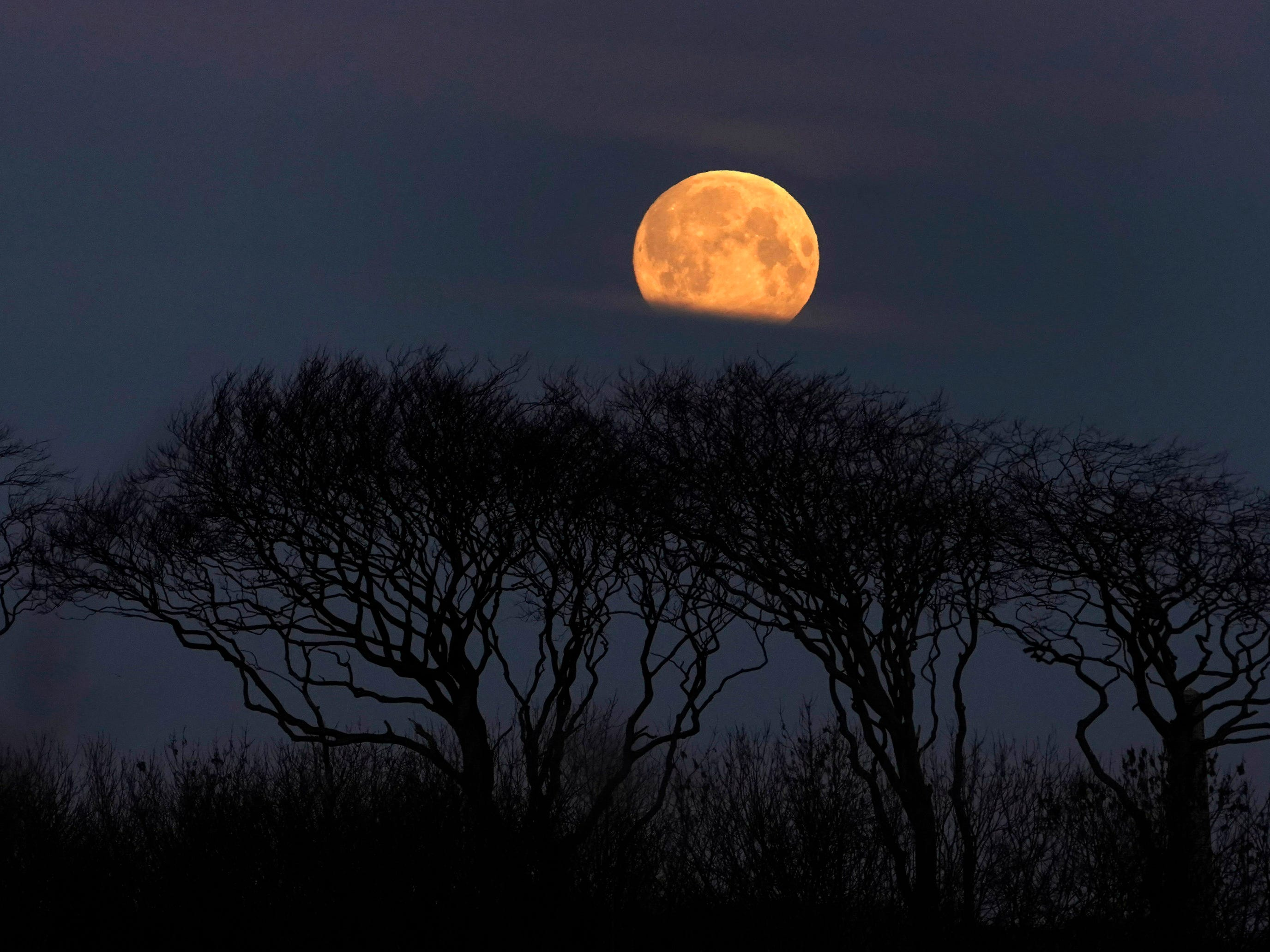 A supermoon sets as seen from Whitley Bay, England, as the sun begins to rise, early on Feb. 19, 2019.