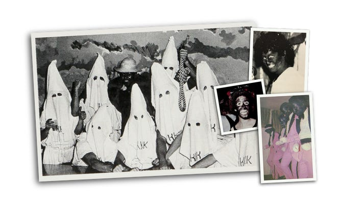 An investigation of local college yearbooks from the 1970s and 1980s found images of blatant racism on campus. The photo on the left of this montage showing the group in Klan hoods was taken from the 1979 RIT yearbook.