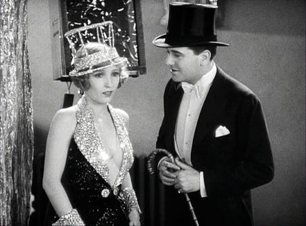 "Hank (Bessie Love) is part of a sister act that boyfriend Eddie (Charles King) wants to use in a new show in ""The Broadway Melody."""