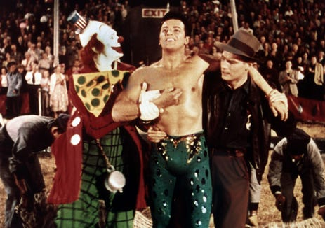 "James Stewart (left), Cornel Wilde and Charlton Heston star under the big top in ""The Greatest Show on Earth."""