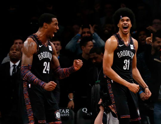 Brooklyn Nets forward Rondae Hollis-Jefferson and center Jarrett Allen.