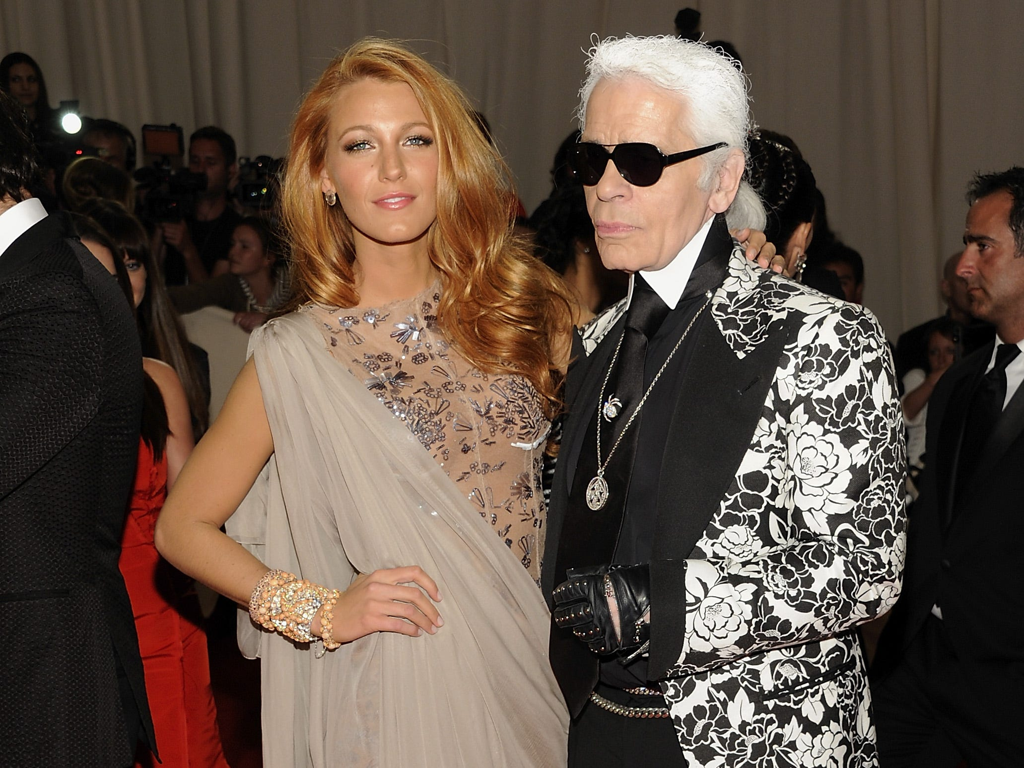 Blake Lively and Karl Lagerfeld arrive at the Metropolitan Museum of Art Costume Institute gala benefit, celebrating the 'Alexander McQueen: Savage Beauty' exhibition, May 2, 2011 in New York.