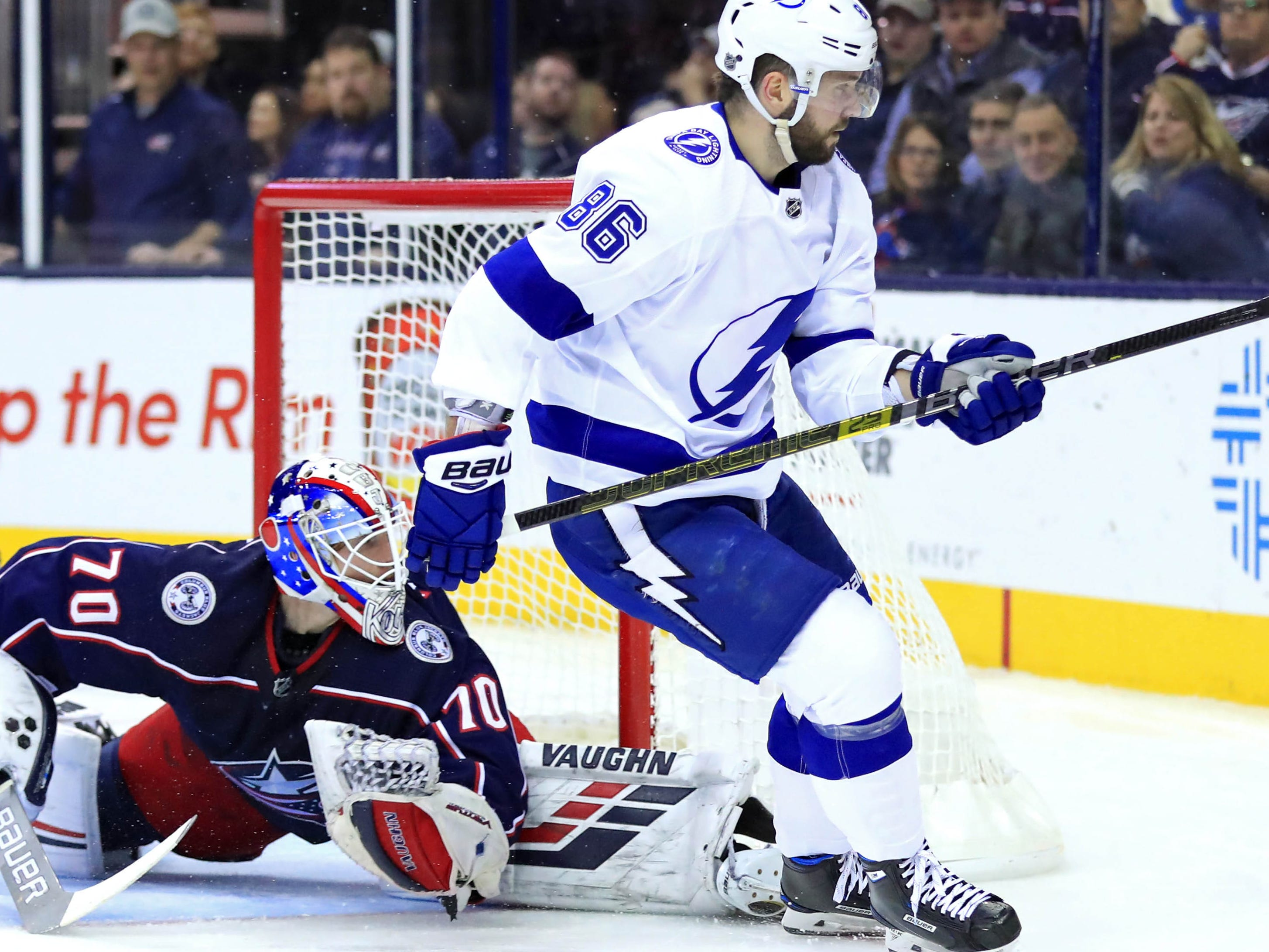 Feb. 18: Tampa Bay Lightning right wing Nikita Kucherov scores a goal against Columbus Blue Jackets goaltender Joonas Korpisalo in the first period at Nationwide Arena. He had five points to give him 99 points this season.