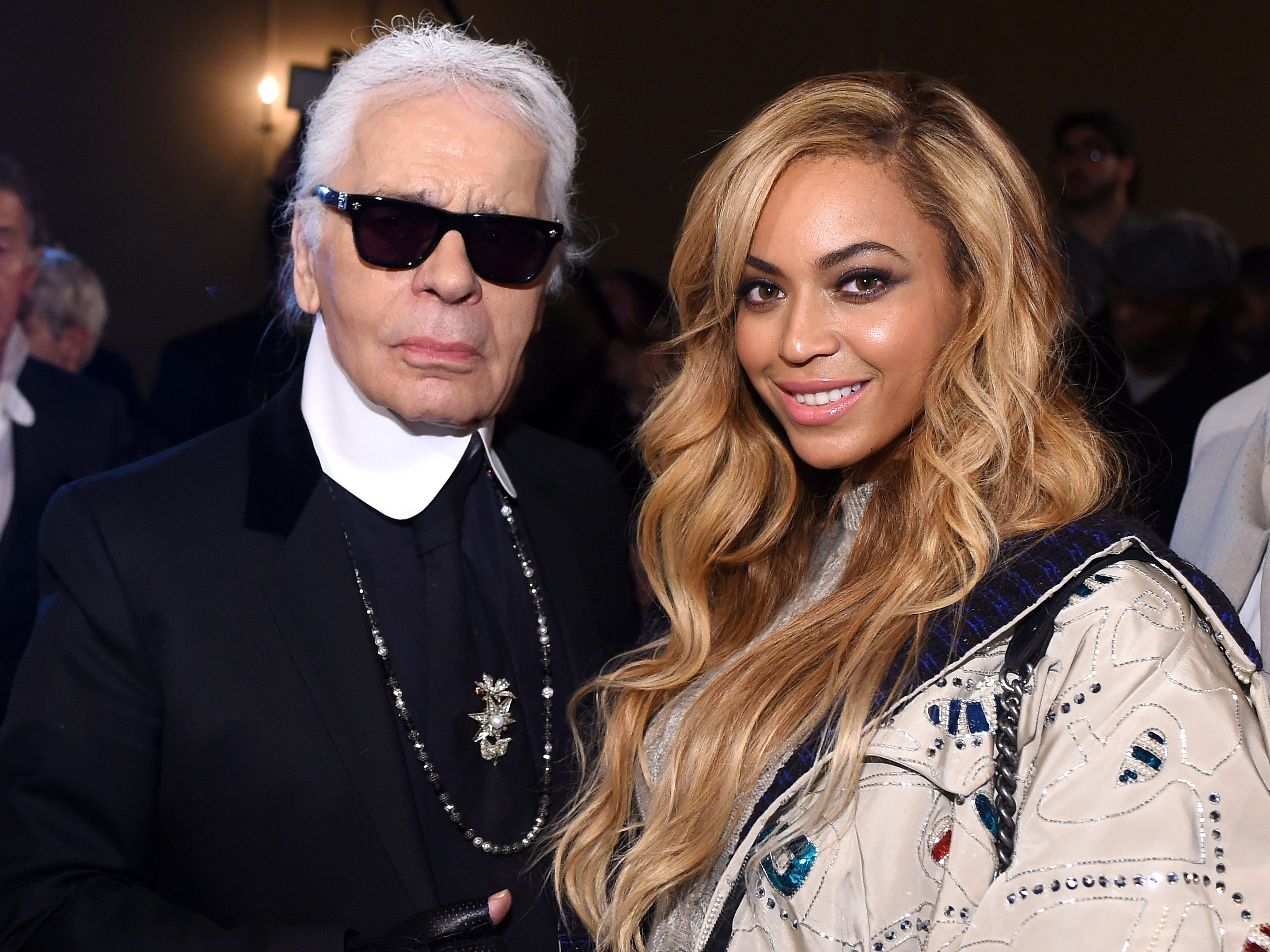 Karl Lagerfeld and Beyonce attend the CHANEL Paris-Salzburg 2014/15 Metiers d'Art Collection in New York City at the Park Avenue Armory on March 31, 2015 in New York City.