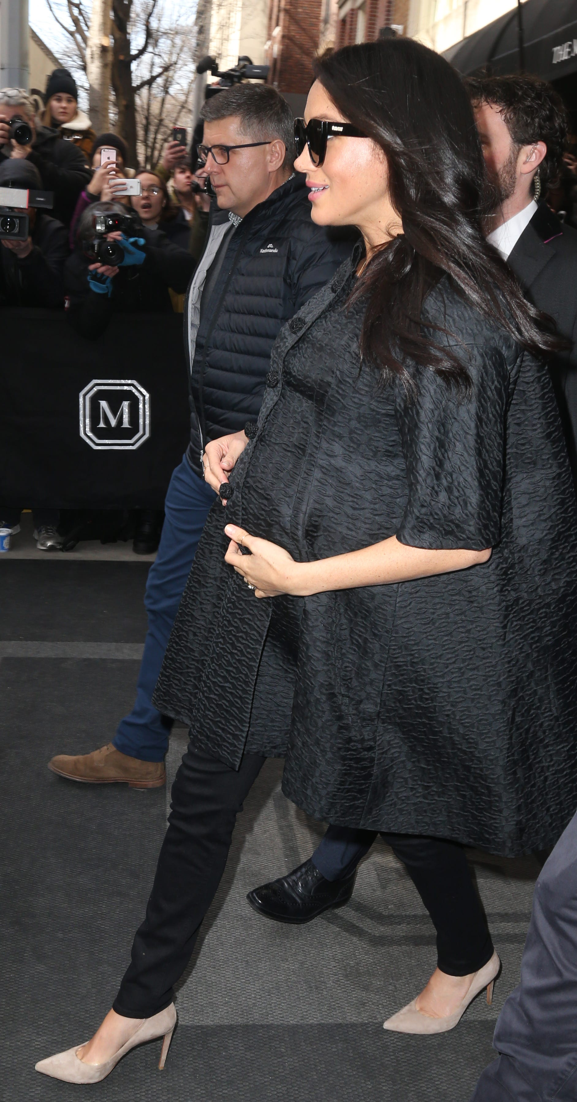 Duchess Meghan of Sussex was spotted by photographers as she headed to her baby shower in New York City on Feb. 19, 2019.