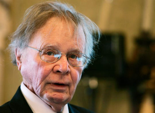 In this Nov. 21, 2008, file photo, Wallace Smith Broecker, a professor in the Department of Earth and Environmental Sciences at Columbia University in New York, addresses the audience during the Balzan prize ceremony in Rome.