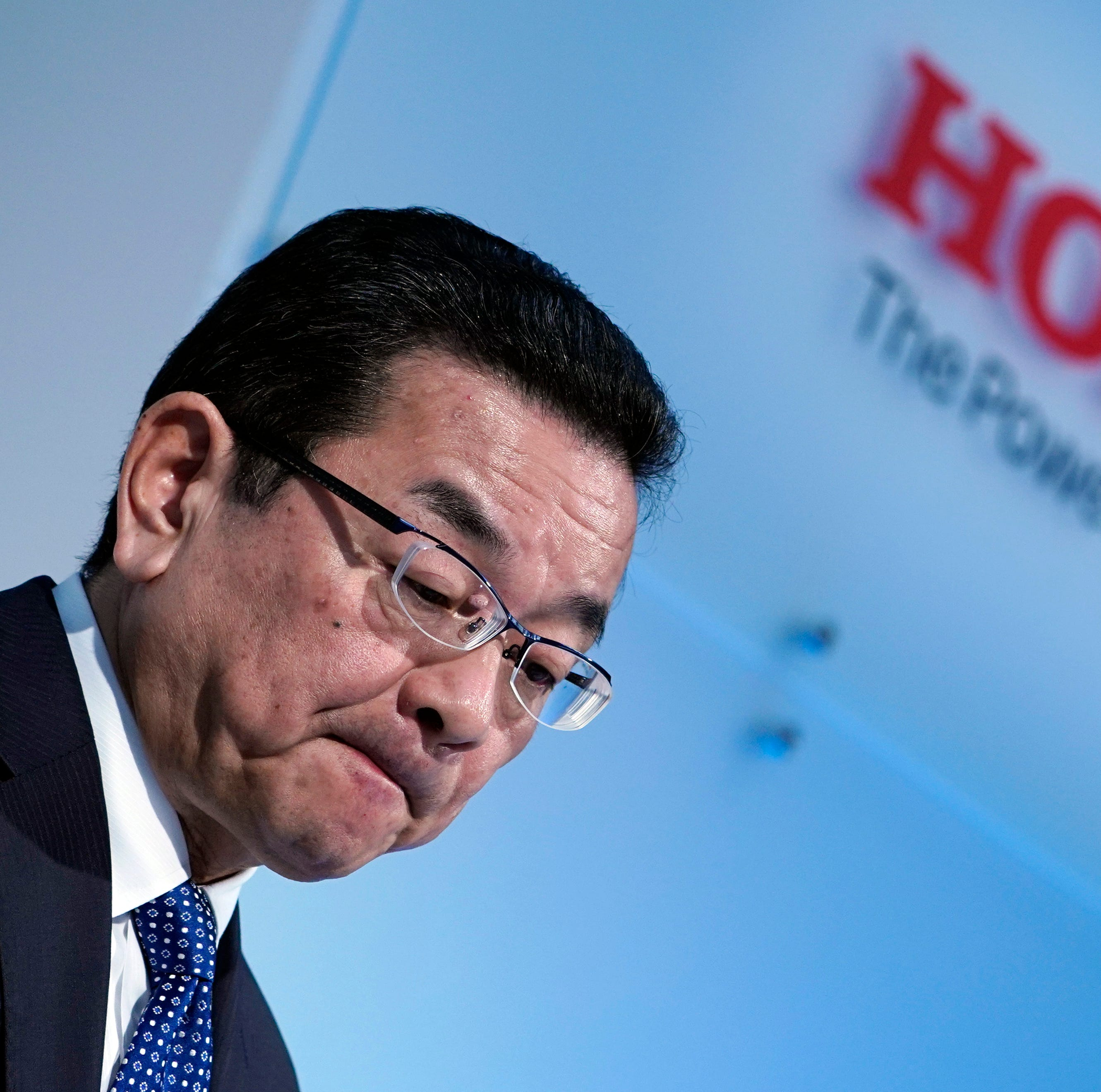 Honda Motors President and CEO Takahiro Hachigo reacts during a press conference at the carmaker headquarters in Tokyo, Japan, 19 February 2019. Hachigo announced the company's global automobile manufacturing restructure which includes the closing of its Swindon plant in Britain in 2021.