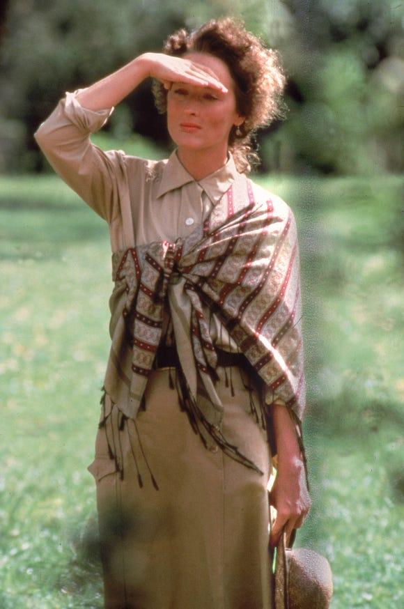 "Meryl Streep plays a Danish baroness who falls for a big-game hunter in ""Out of Africa."""