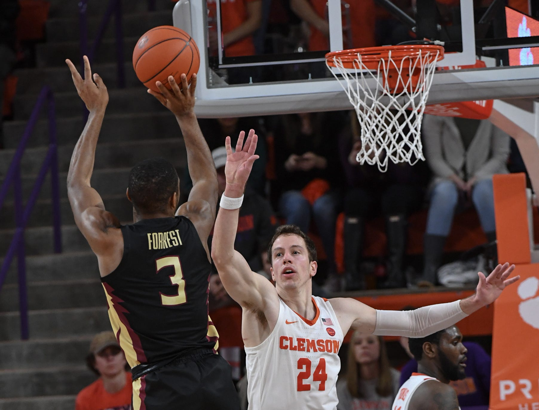 Clemson forward David Skara (24) defends Florida State guard Trent Forrest(3) during the second half at Littlejohn Coliseum in Clemson Tuesday, February 19, 2019.
