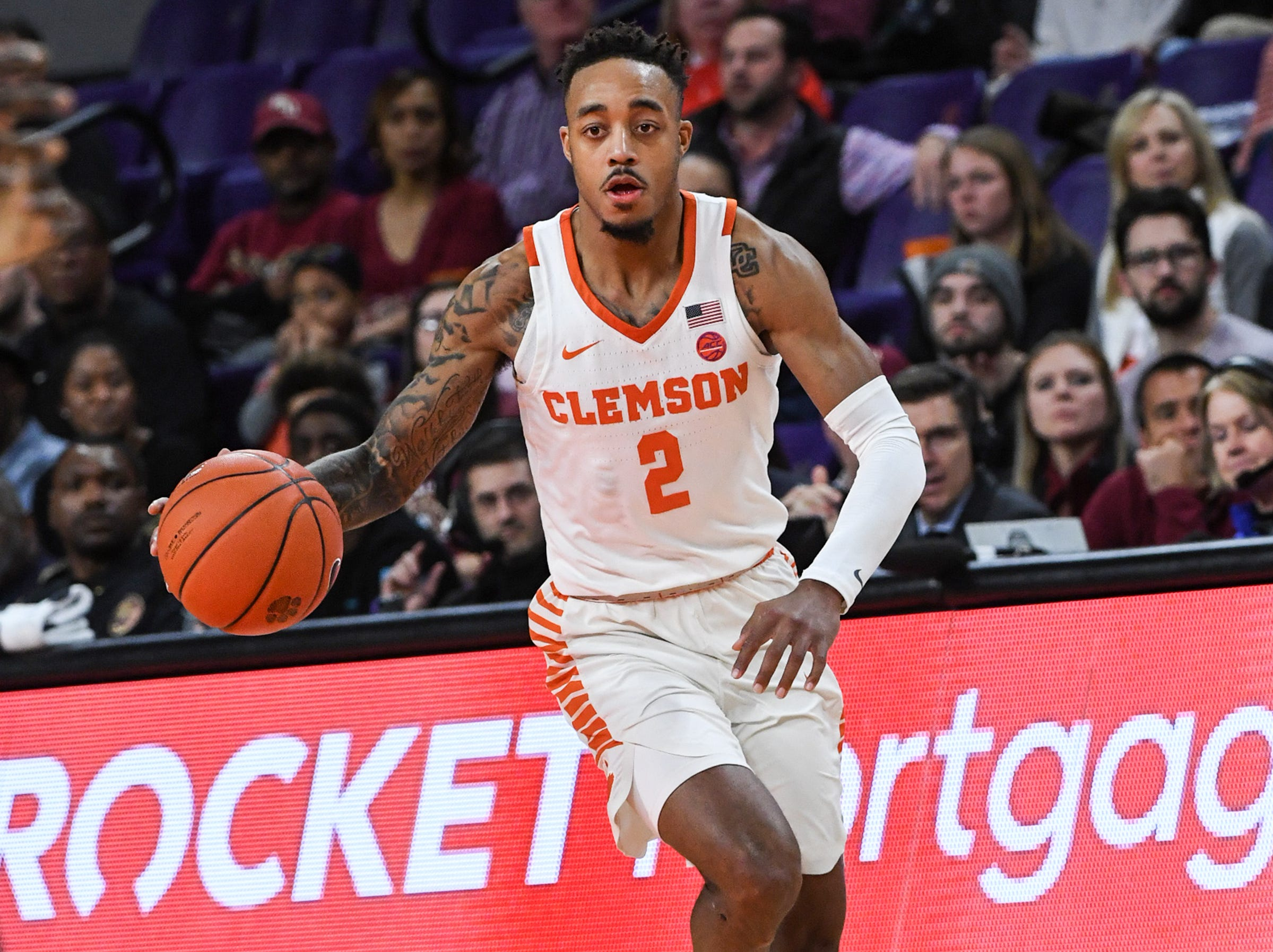 Clemson guard Marcquise Reed (2) plays against Florida State during the second half at Littlejohn Coliseum in Clemson Tuesday, February 19, 2019.