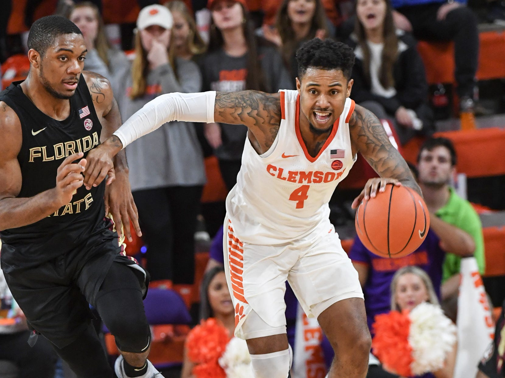 Clemson guard Shelton Mitchell (4) playing Florida State during the second half at Littlejohn Coliseum in Clemson Tuesday, February 19, 2019.