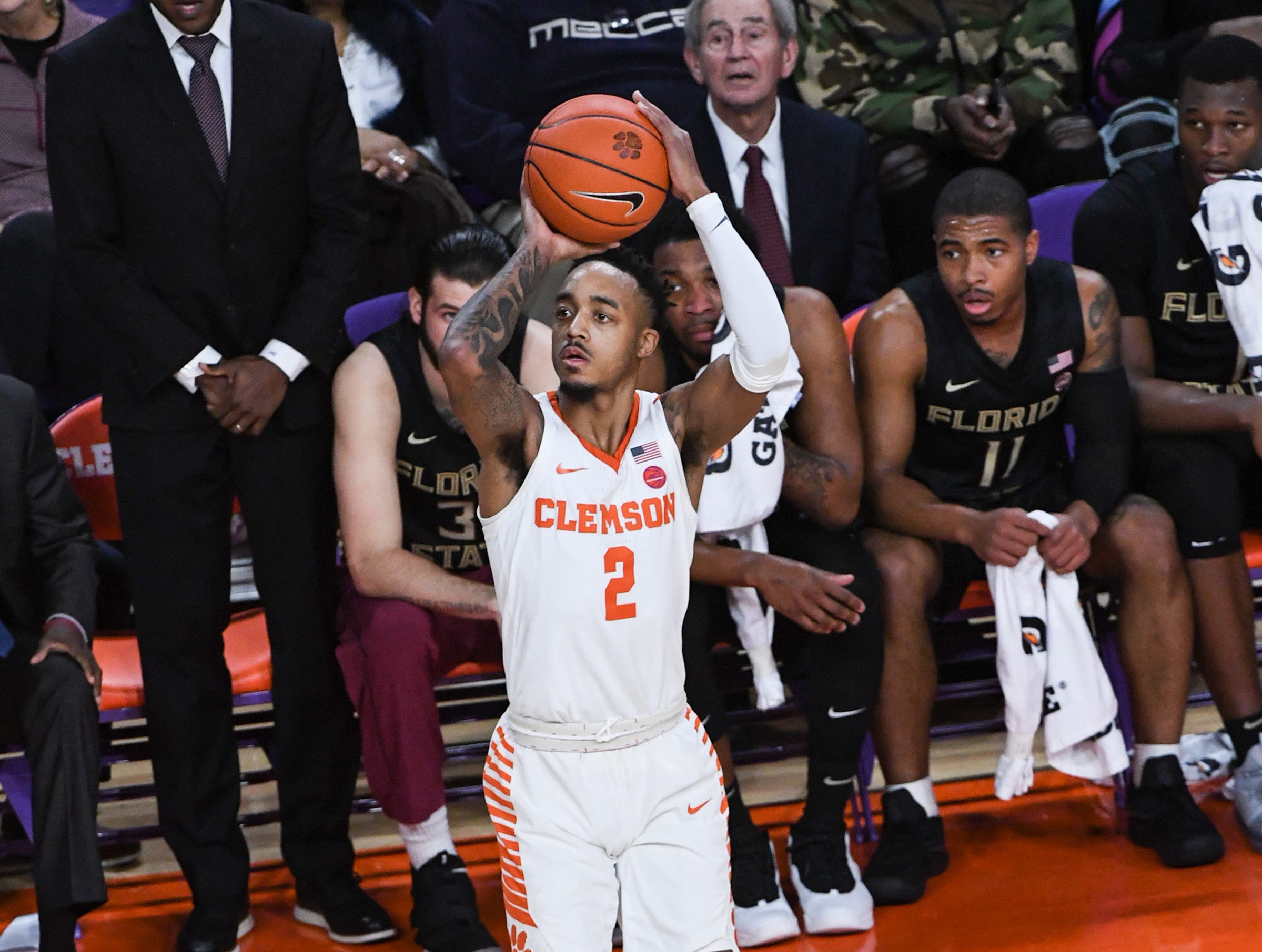 Clemson guard Marcquise Reed (2) shoots a three-pointer against Florida State during the first half at Littlejohn Coliseum in Clemson Tuesday, February 19, 2019.