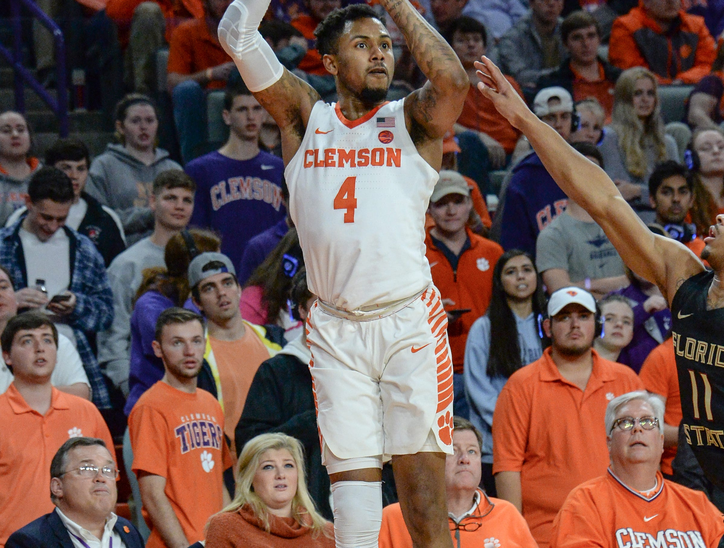 Clemson guard Shelton Mitchell (4) shoots during the second half at Littlejohn Coliseum in Clemson Tuesday, February 19, 2019.
