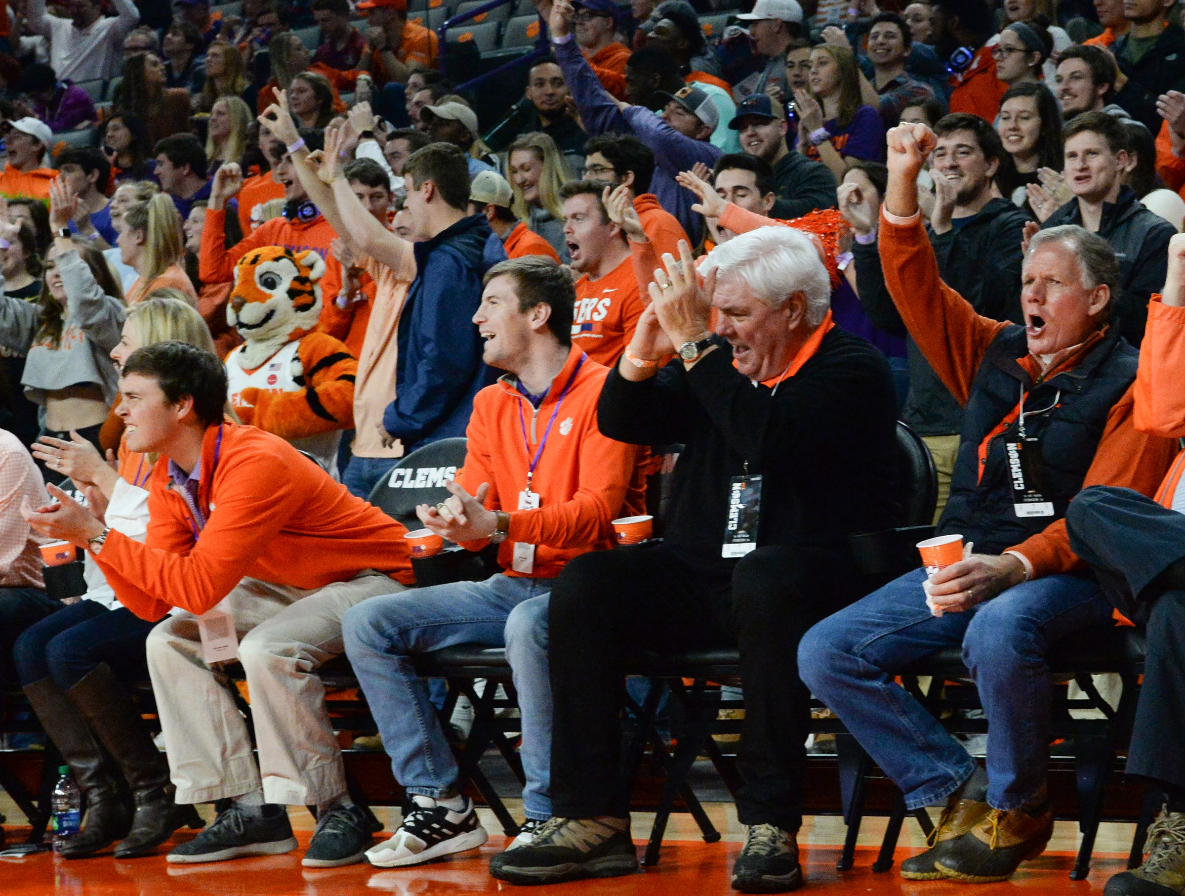 Fans cheer after Clemson scores during the first half at Littlejohn Coliseum in Clemson Tuesday, February 19, 2019.