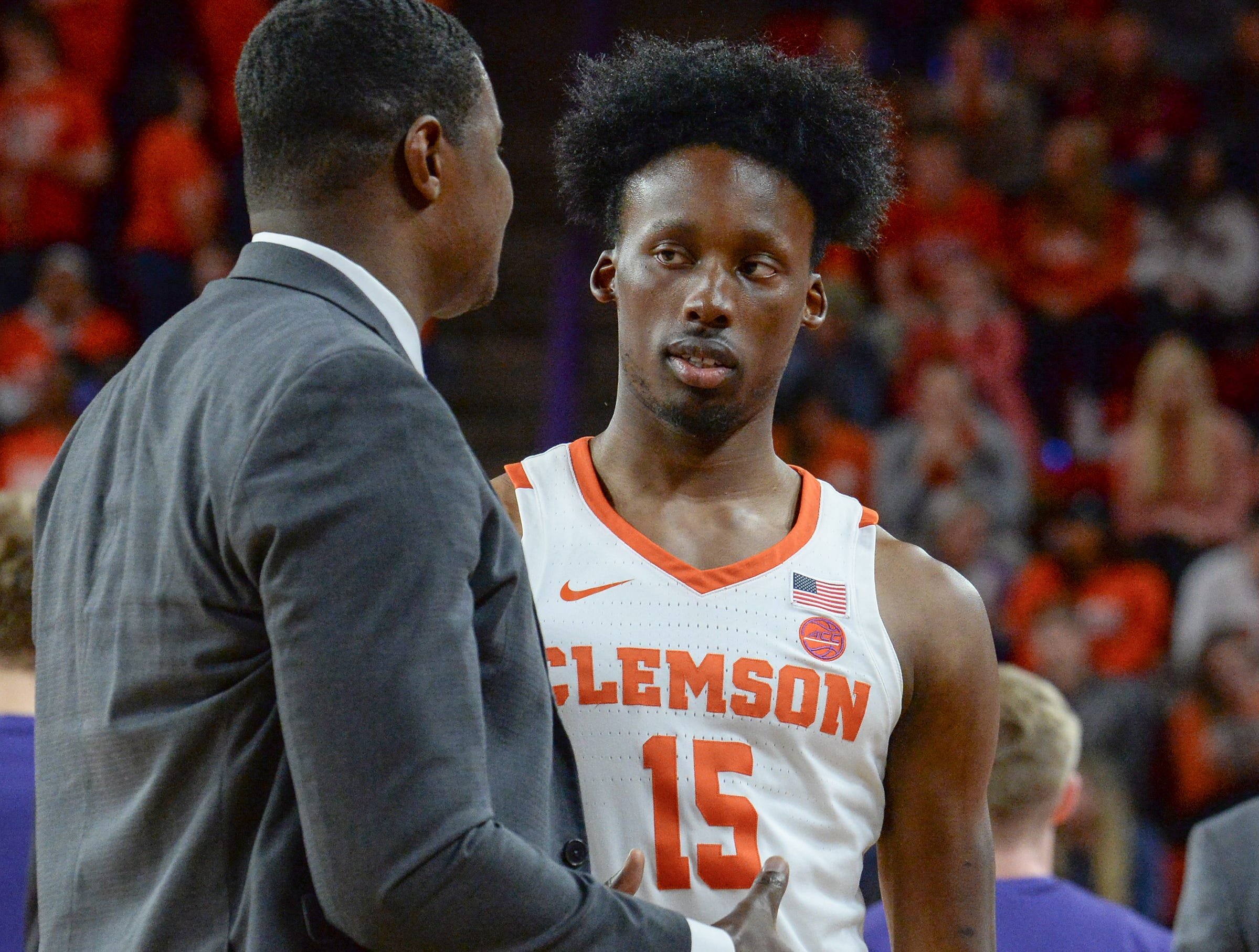 Clemson forward John Newman (15) during the second half at Littlejohn Coliseum in Clemson Tuesday, February 19, 2019.