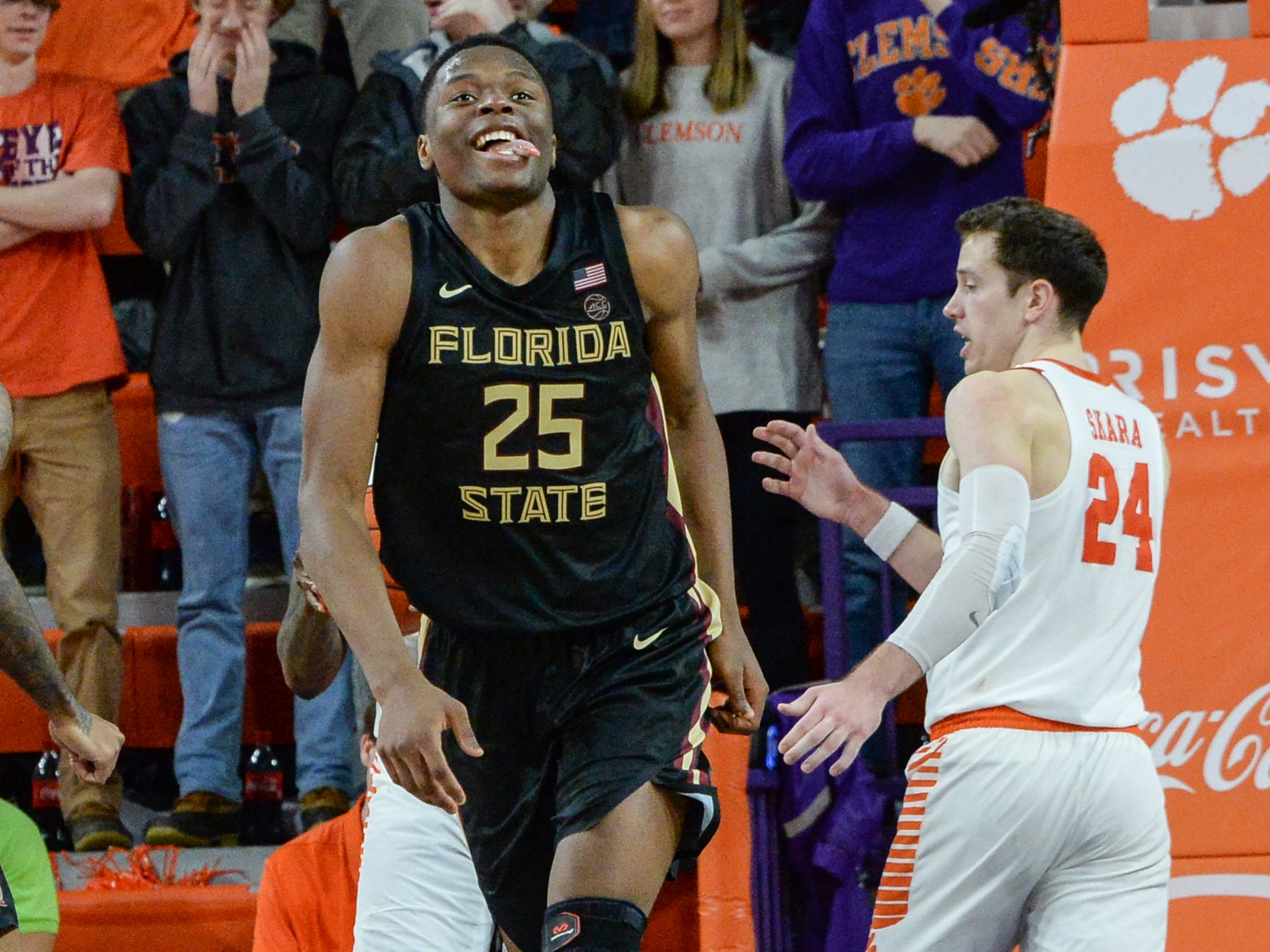 Florida State forward Mfiondu Kabengele(25) reacts after scoring near Clemson forward David Skara (24) during the second half at Littlejohn Coliseum in Clemson Tuesday, February 19, 2019.