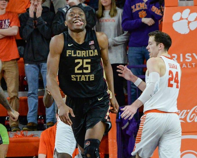 Florida State forward Mfiondu Kabengele(25) reacts after scoring near Clemson forward David Skara (24) during the second half at Littlejohn Coliseum in Clemson Tuesday, February 19, 2019.