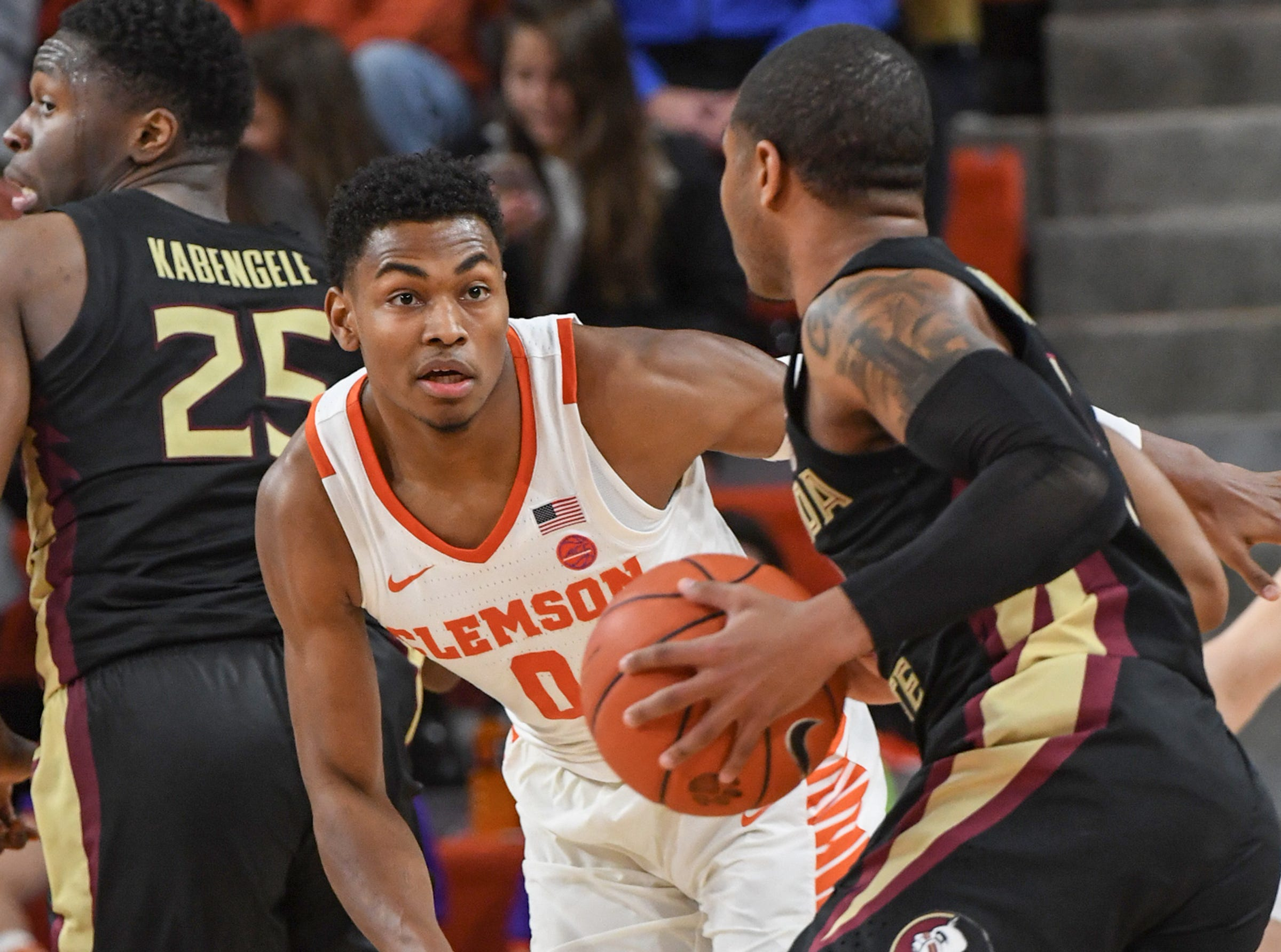 Clemson center Clyde Trapp (0) plays defense against Florida State during the second half at Littlejohn Coliseum in Clemson Tuesday, February 19, 2019.