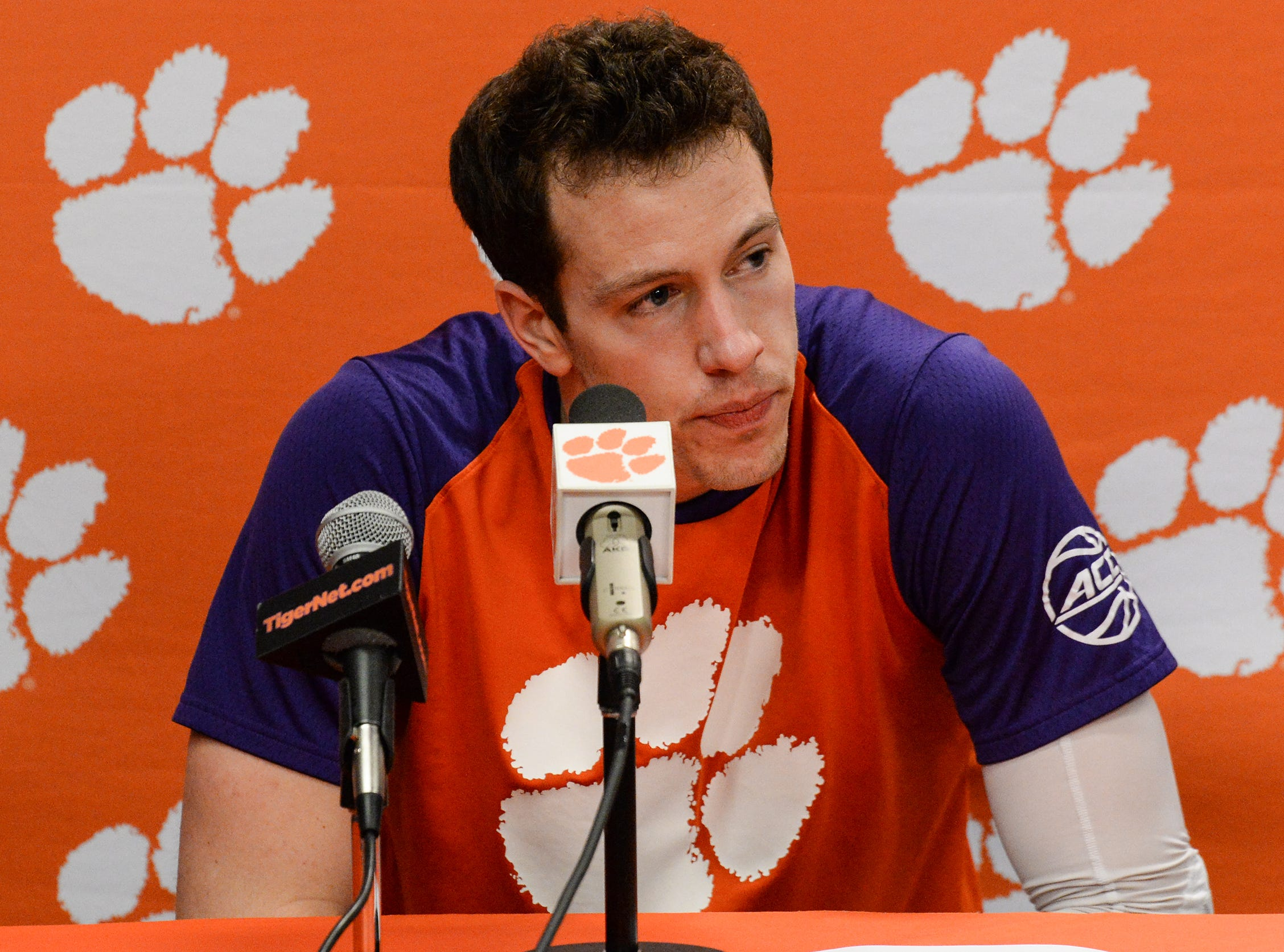 Clemson forward David Skara (24) talks after the game against Florida State Tuesday, February 19, 2019.