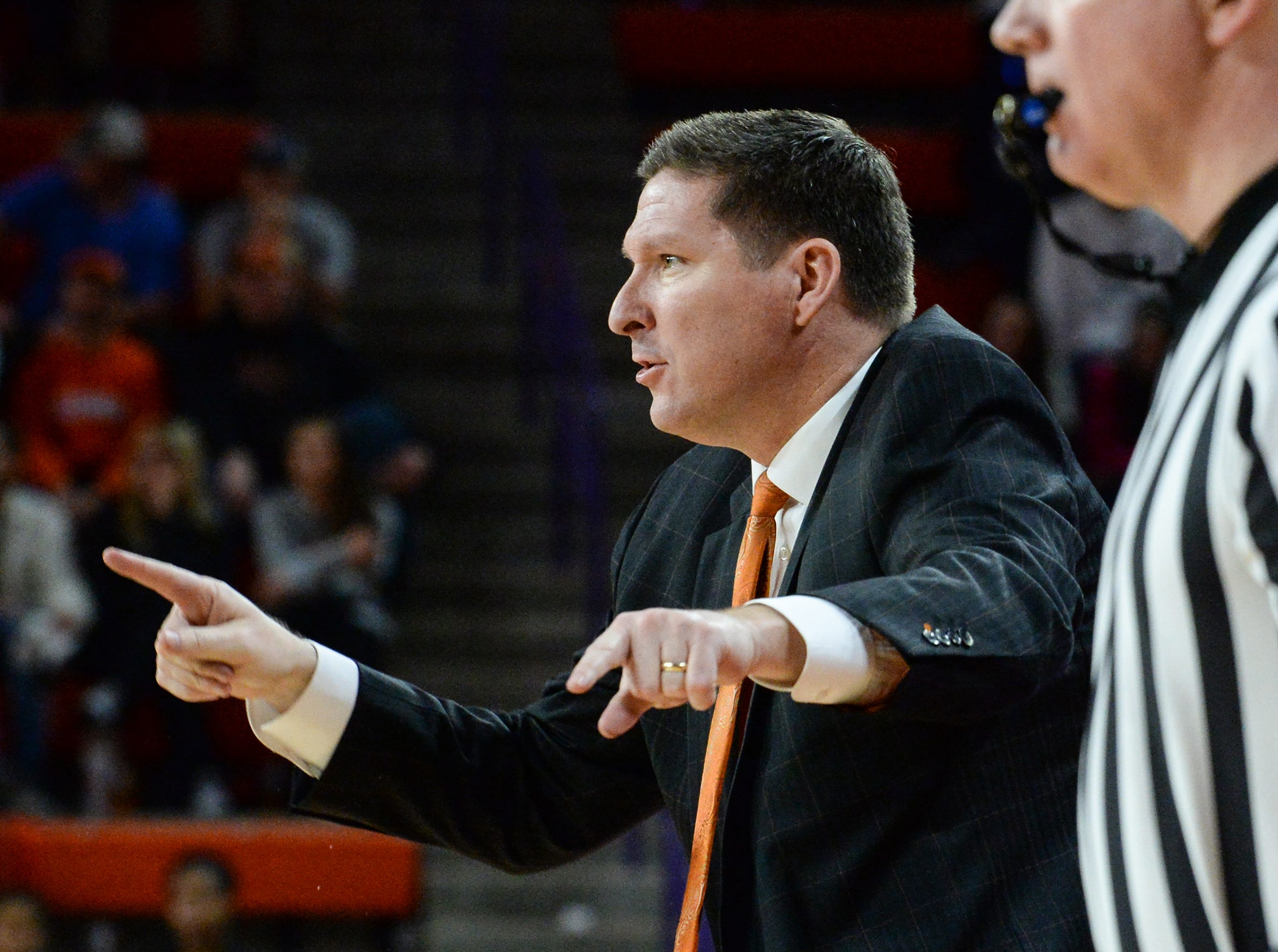 Clemson head coach Brad Brownell gives direction to his team playing Florida State during the second half at Littlejohn Coliseum in Clemson Tuesday, February 19, 2019.