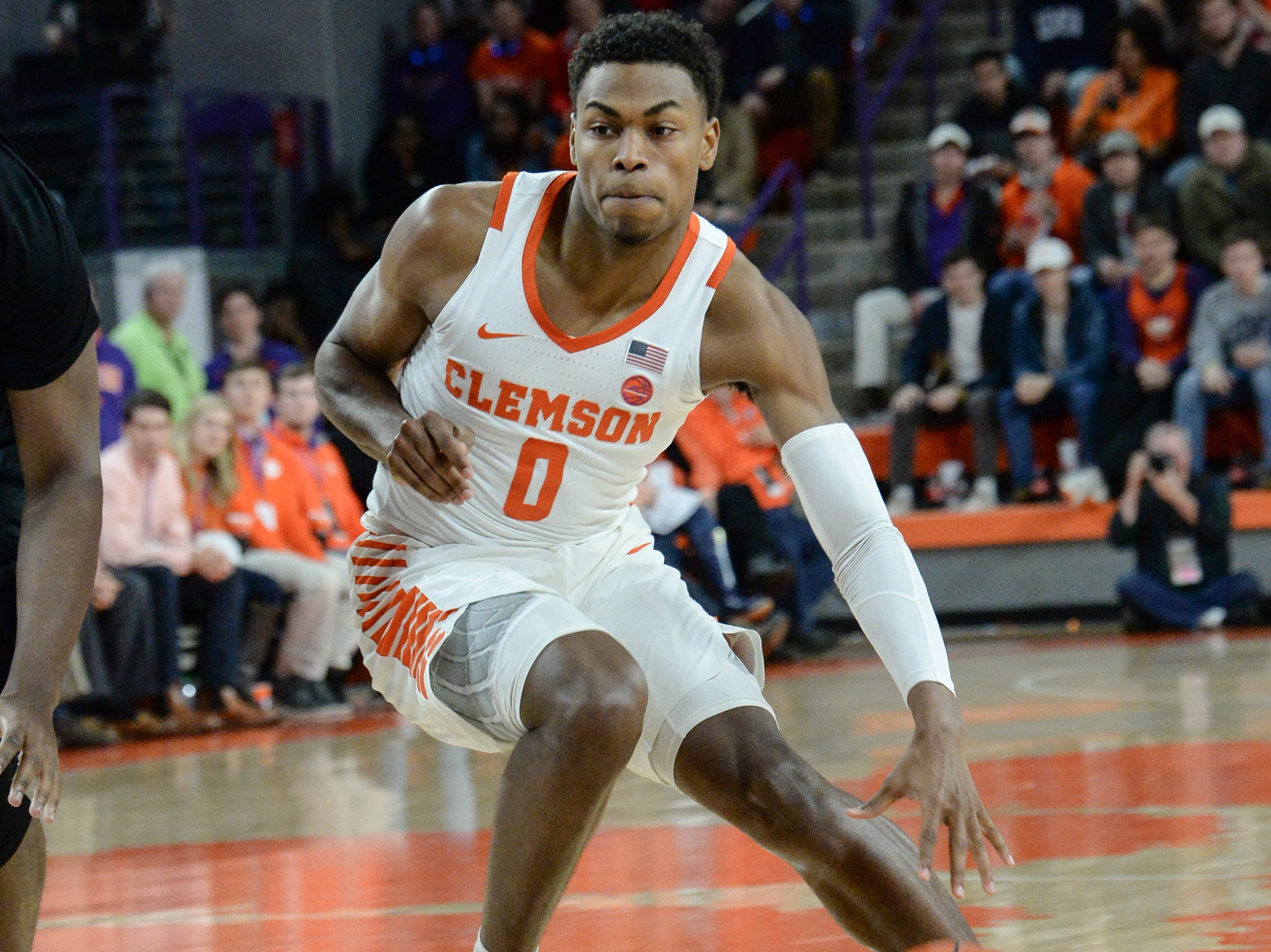 Clemson center Clyde Trapp (0) plays Florida State during the second half at Littlejohn Coliseum in Clemson Tuesday, February 19, 2019.
