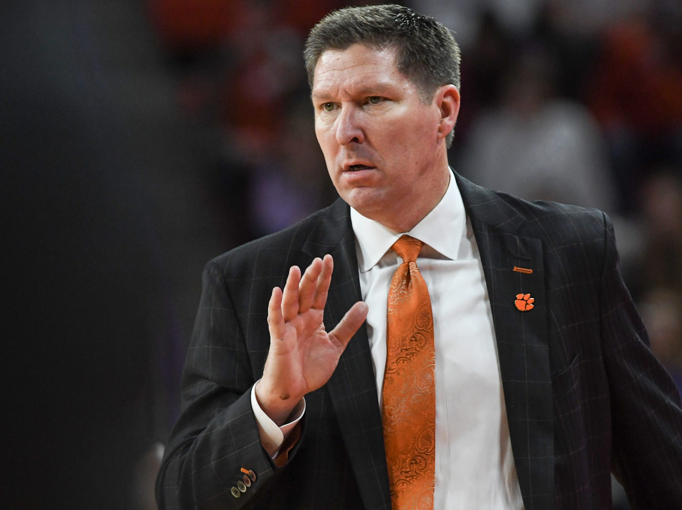 Clemson head coach Brad Brownell communicates with his team against Florida State during the second half at Littlejohn Coliseum in Clemson Tuesday, February 19, 2019.