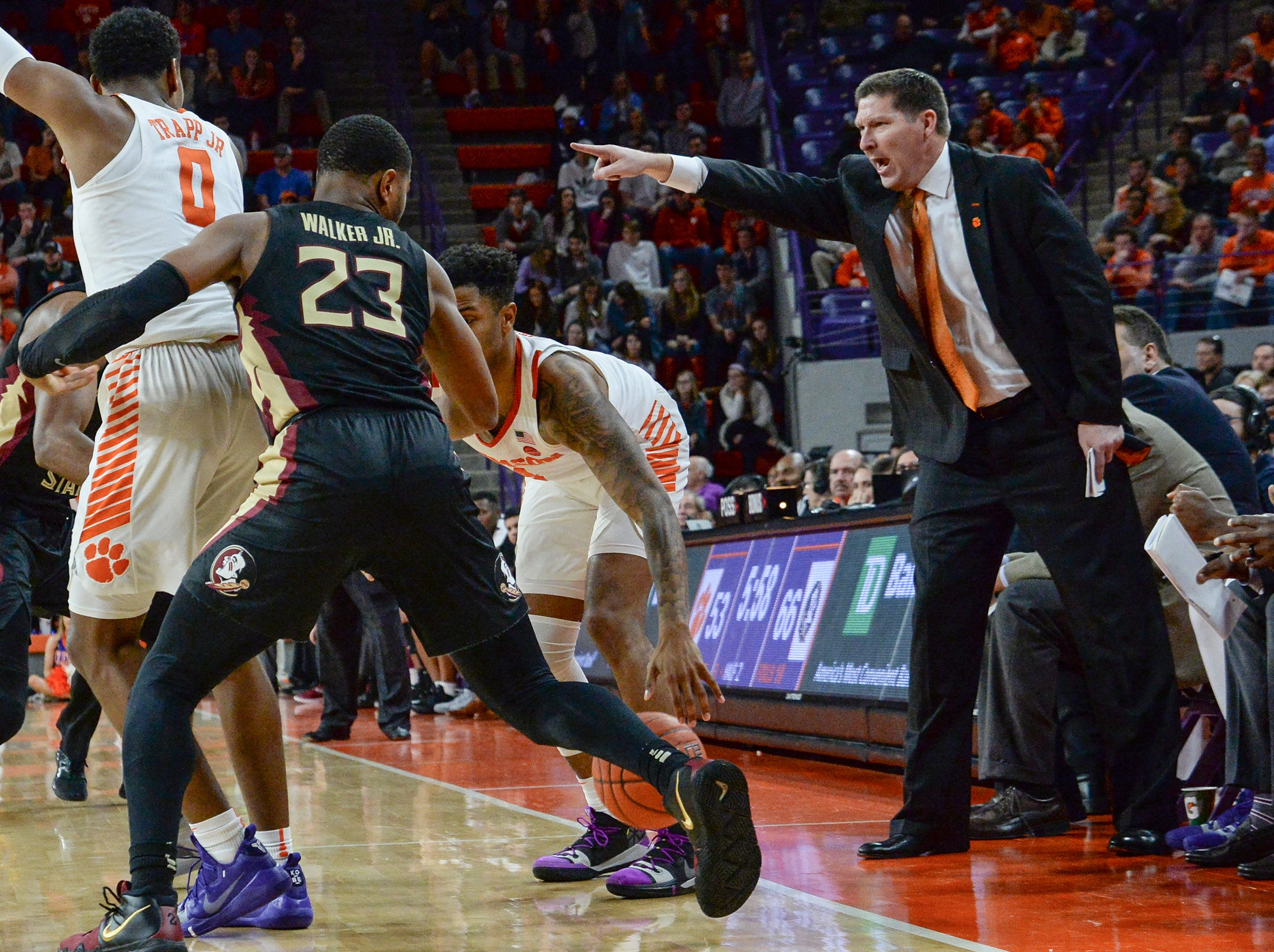 Clemson head coach Brad Brownell gives direction playing Florida State during the second half at Littlejohn Coliseum in Clemson Tuesday, February 19, 2019.