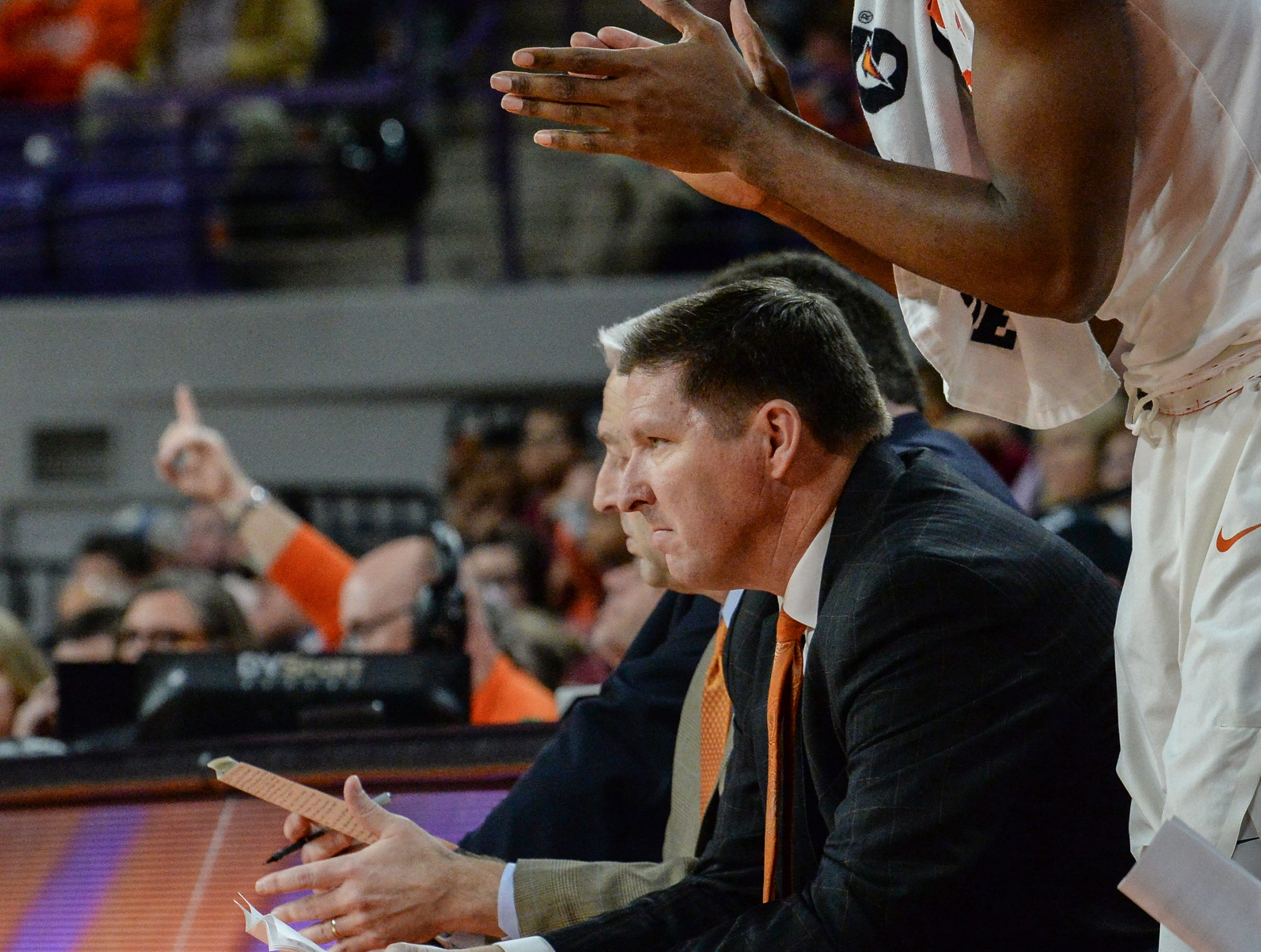 Clemson head coach Brad Brownell watches his team play Florida State during the second half at Littlejohn Coliseum in Clemson Tuesday, February 19, 2019.