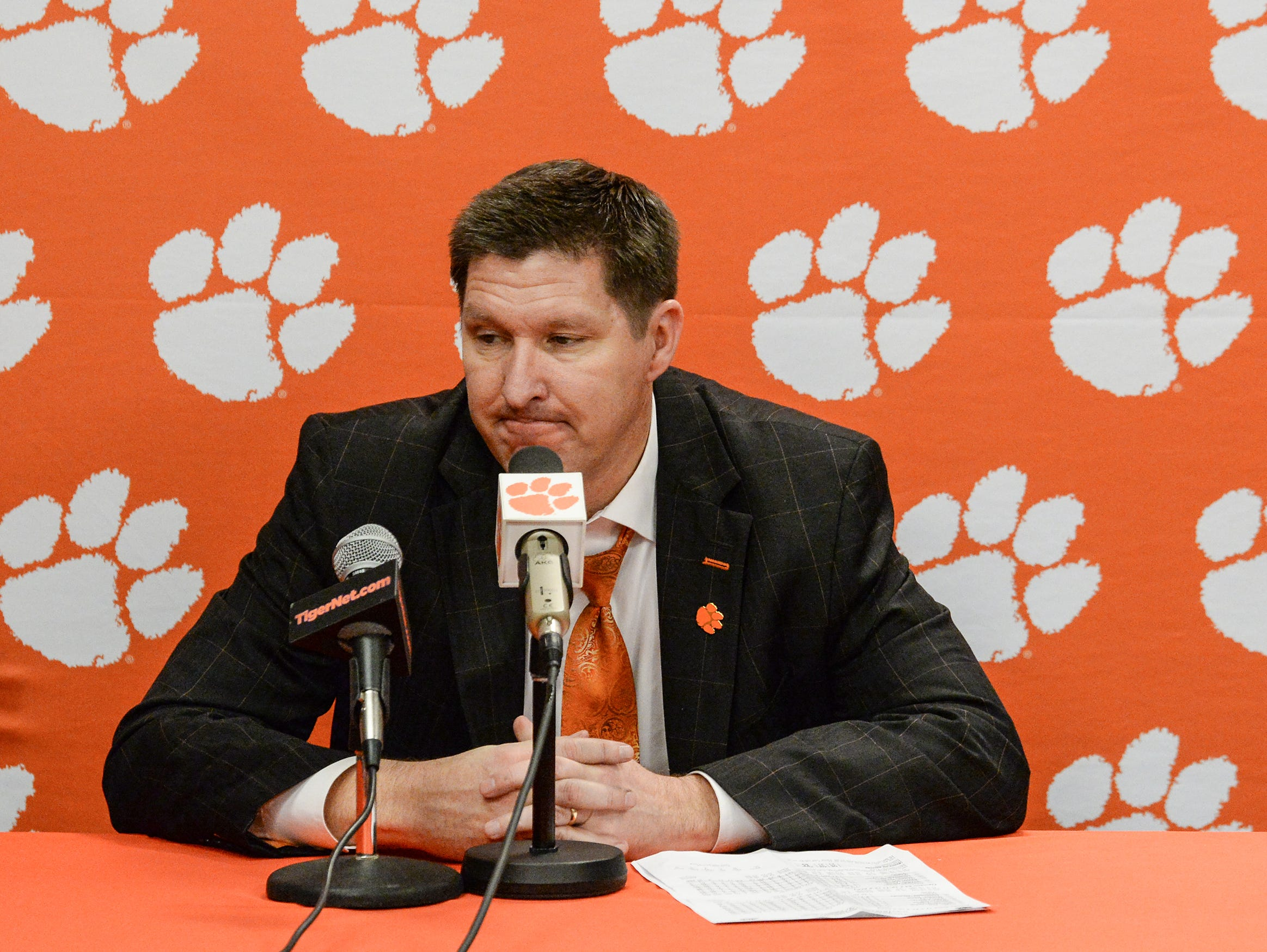 Clemson head coach Brad Brownell  talks after the game against Florida State Tuesday, February 19, 2019.