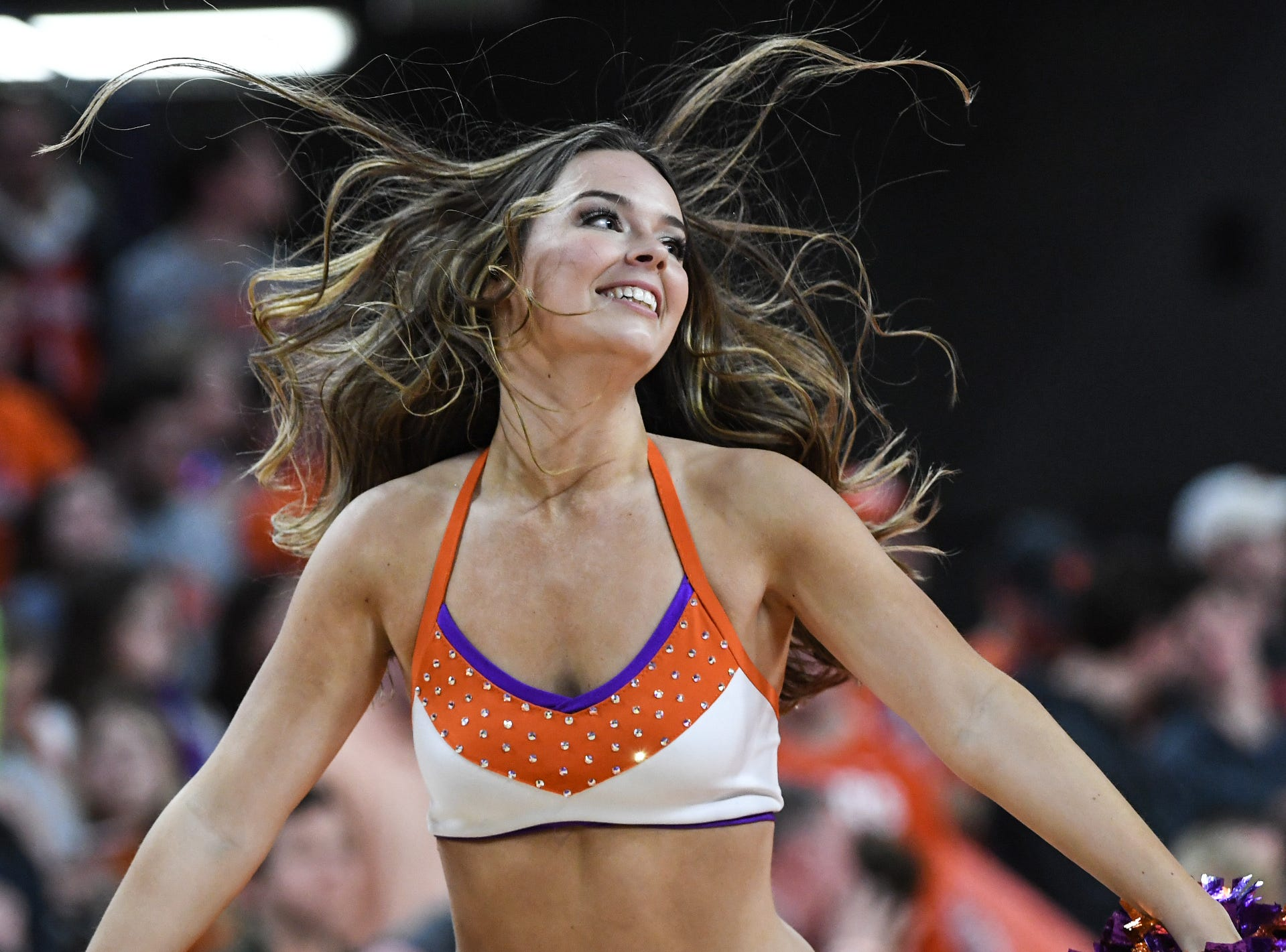 A Rally Cat dances in a break of Clemson playing Florida State during the second half at Littlejohn Coliseum in Clemson Tuesday, February 19, 2019.