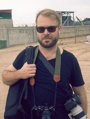 Aaron Ohlmann at work in Mogadishu, Somalia.