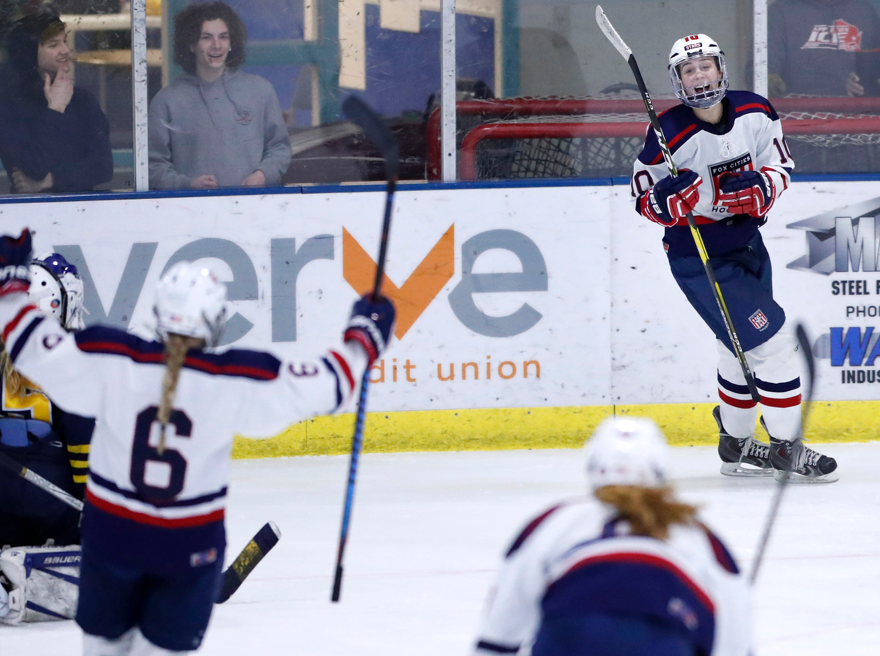 Fox Cities Stars' Madelynn Jablonski celebrates after scoring against University School Co-op during their sectional semifinal Tuesday, Feb. 19, 2019, at the Tri-County Ice Arena in Neenah, Wis.Danny Damiani/USA TODAY NETWORK-Wisconsin