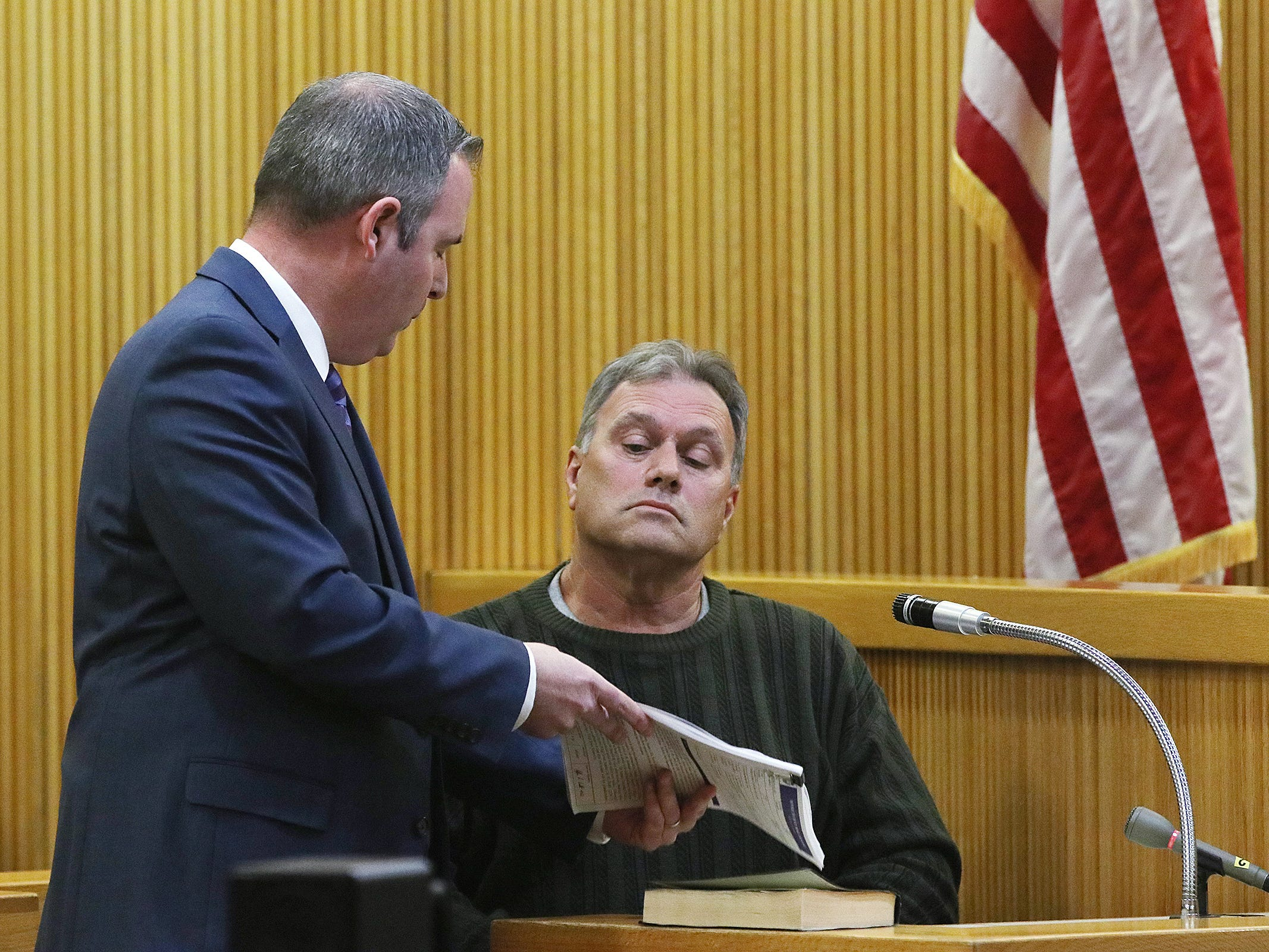Craig Hetzel of Neptune is questioned by Christopher Decker, Monmouth County assistant prosecutor, as he testifies that he saw a woman who resembled Sarah Stern on the day she went missing during the trial of Liam McAtasney, who is charged with the murder of former high school classmate, Sarah Stern, before Superior Court Judge Richard W. English at the Monmouth County Courthouse in Freehold, NJ Wednesday, February 20, 2019.
