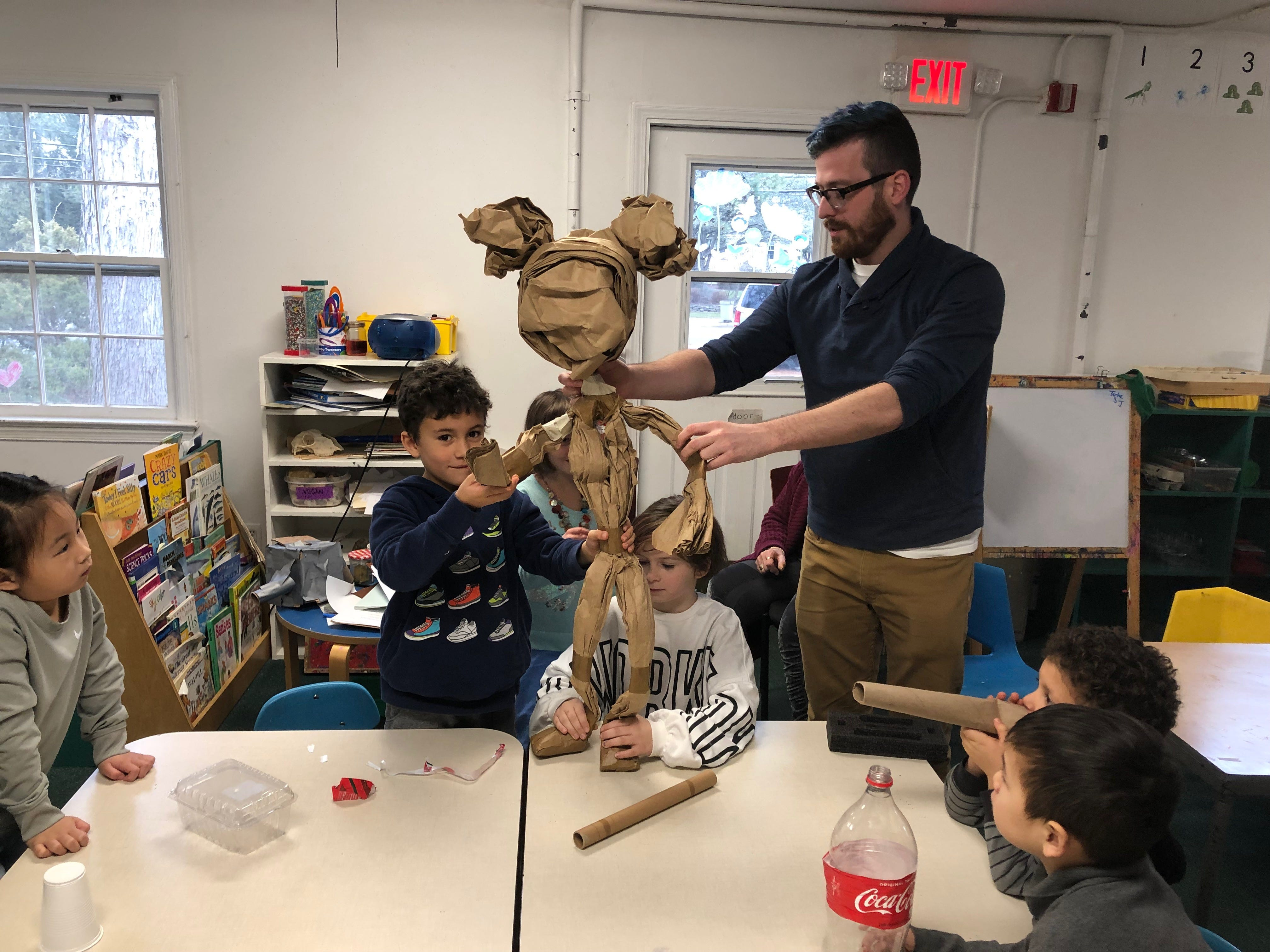 Jon Riddleberger, puppeteer, teaches the  students at The New School of Monmouth County in Holmdel the art of puppetry.