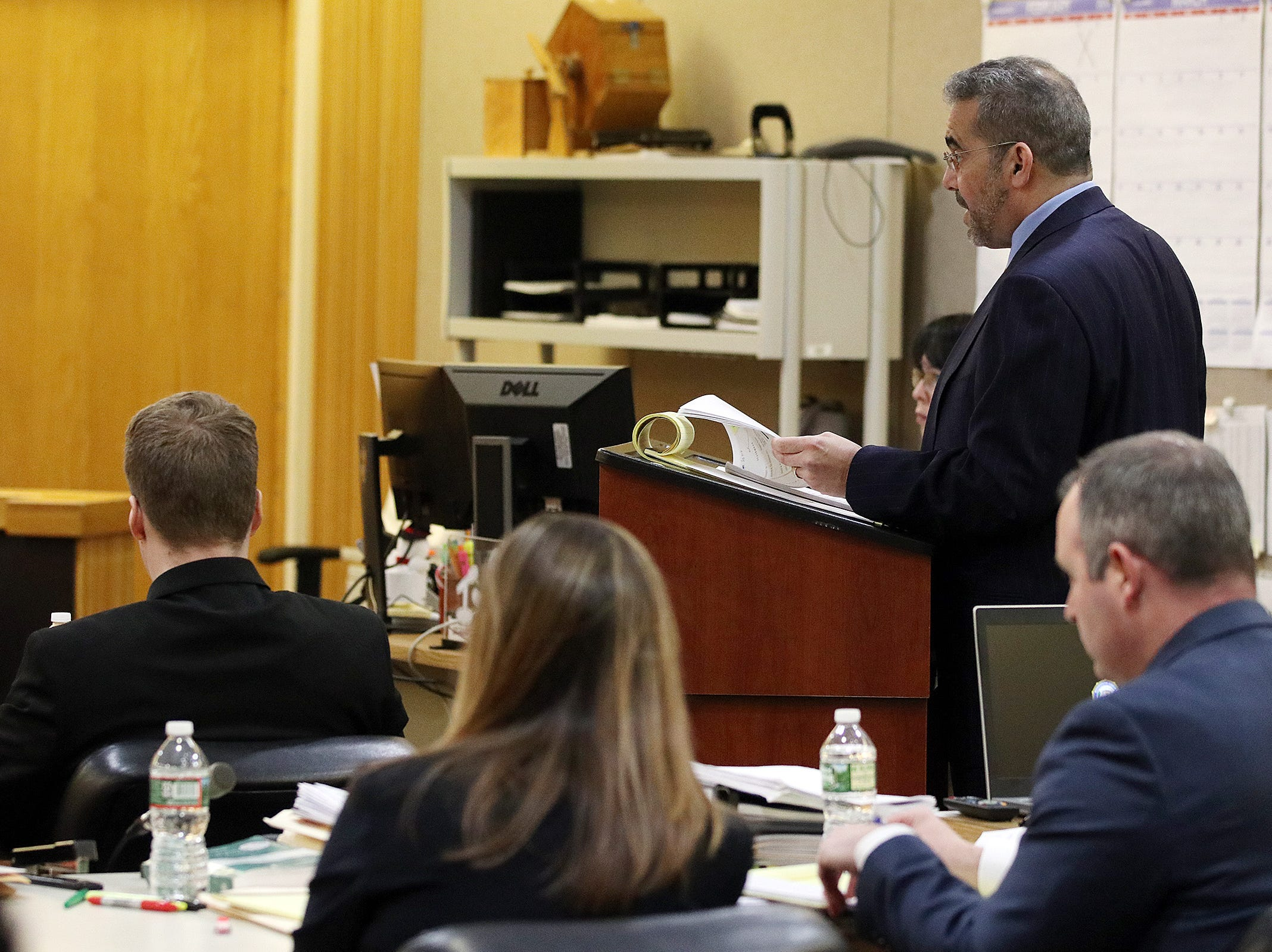 Detective Brian Weisbrot of the Monmouth County Prosecutor's Office, is cross examined by (pictured) Carlos Diaz-Cobo, defense attorney, as he testifies during the trial of Liam McAtasney, who is charged with the murder of former high school classmate, Sarah Stern, before Superior Court Judge Richard W. English at the Monmouth County Courthouse in Freehold, NJ Wednesday, February 20, 2019.