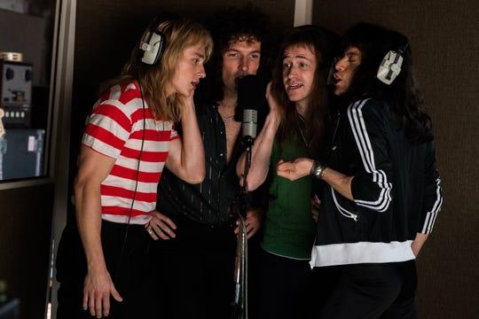 "Ben Hardy, from left, Gwilym Lee, Joe Mazzello and Rami Malek star in Twentieth Century Fox's ""Bohemian Rhapsody."""