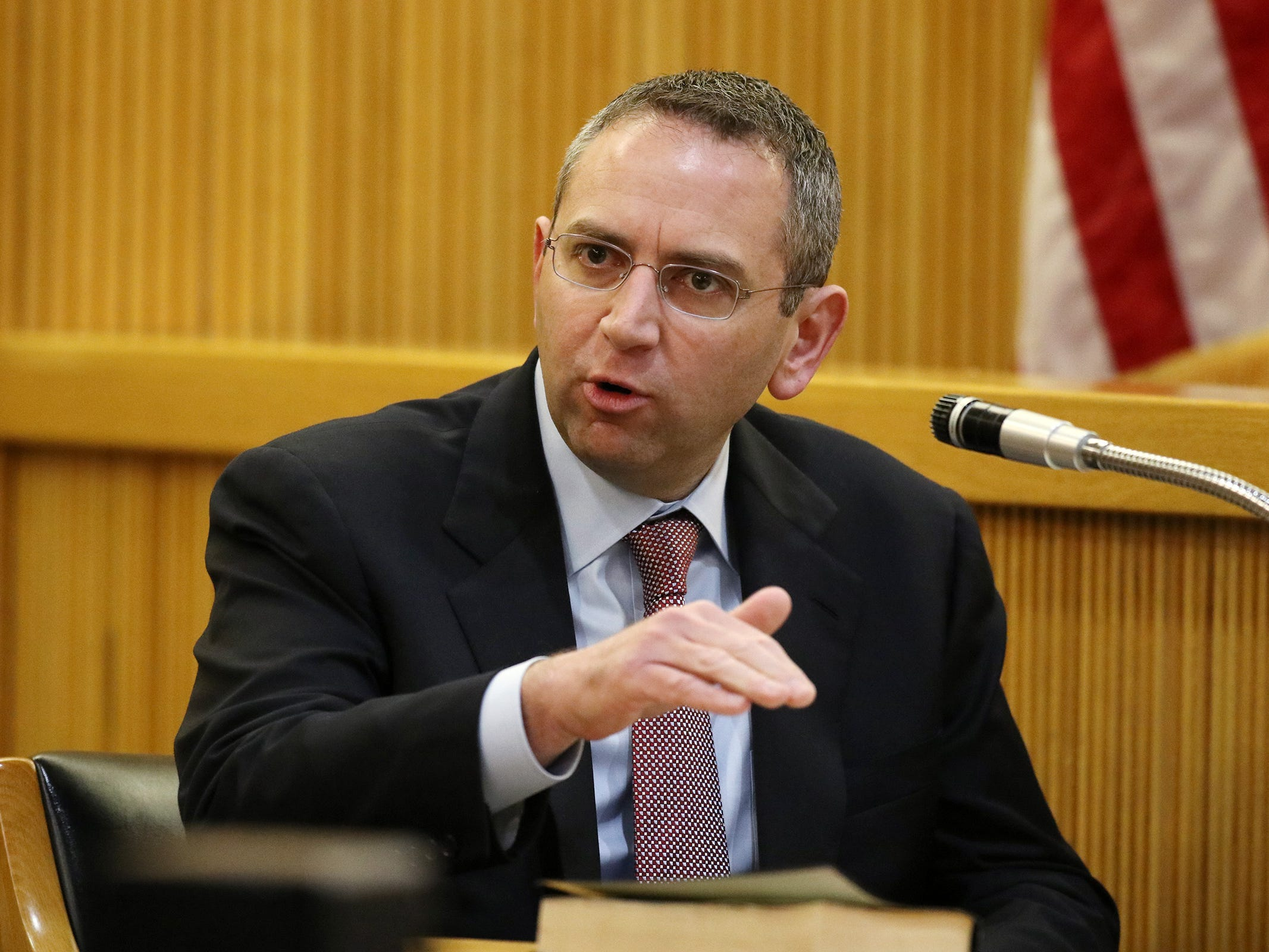 Detective Brian Weisbrot of the Monmouth County Prosecutor's Office, testifies during the trial of Liam McAtasney, who is charged with the murder of former high school classmate, Sarah Stern, before Superior Court Judge Richard W. English at the Monmouth County Courthouse in Freehold, NJ Wednesday, February 20, 2019.