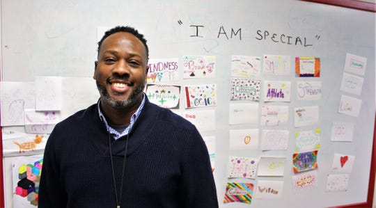 "A Madison Middle School student helped campus coach Thurmond Mettles create an ""I Am Special"" board."