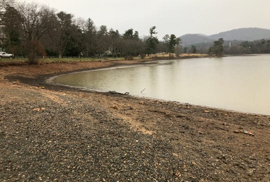 Dredging work to remove silt in Beaver Lake should be finished by late April or early May. The lake has been lowered to accommodate the work.