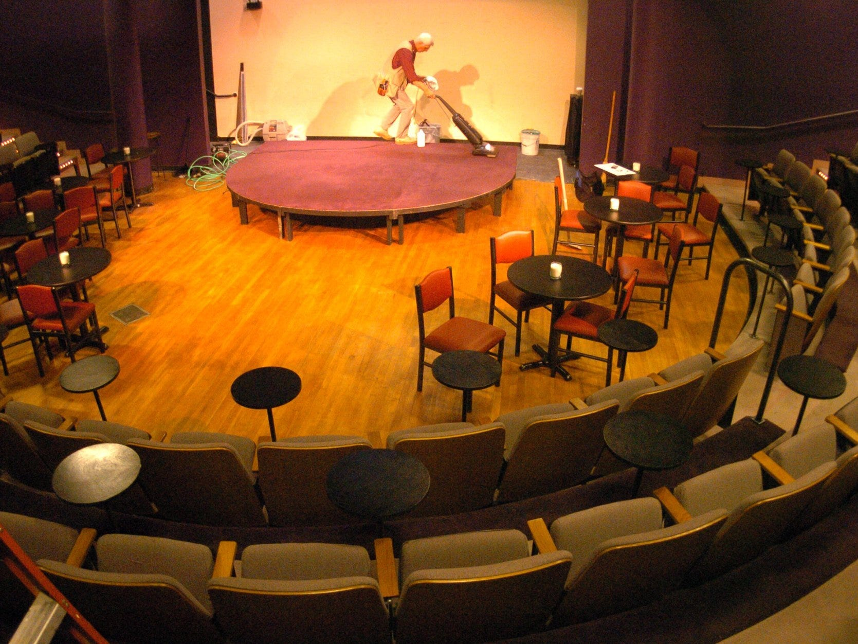 A new stage and seating area installed at Gary Fields' Comedy Court in 2005.