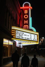 The Bohm Theatre's marquee lights up downtown Albion.