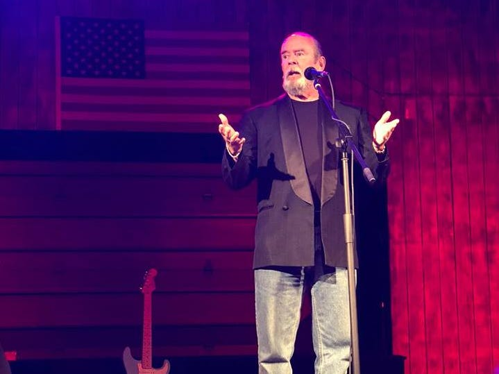 Comedian Gary Fields performs at a fundraiser for the Backroads Saloon in 2018.