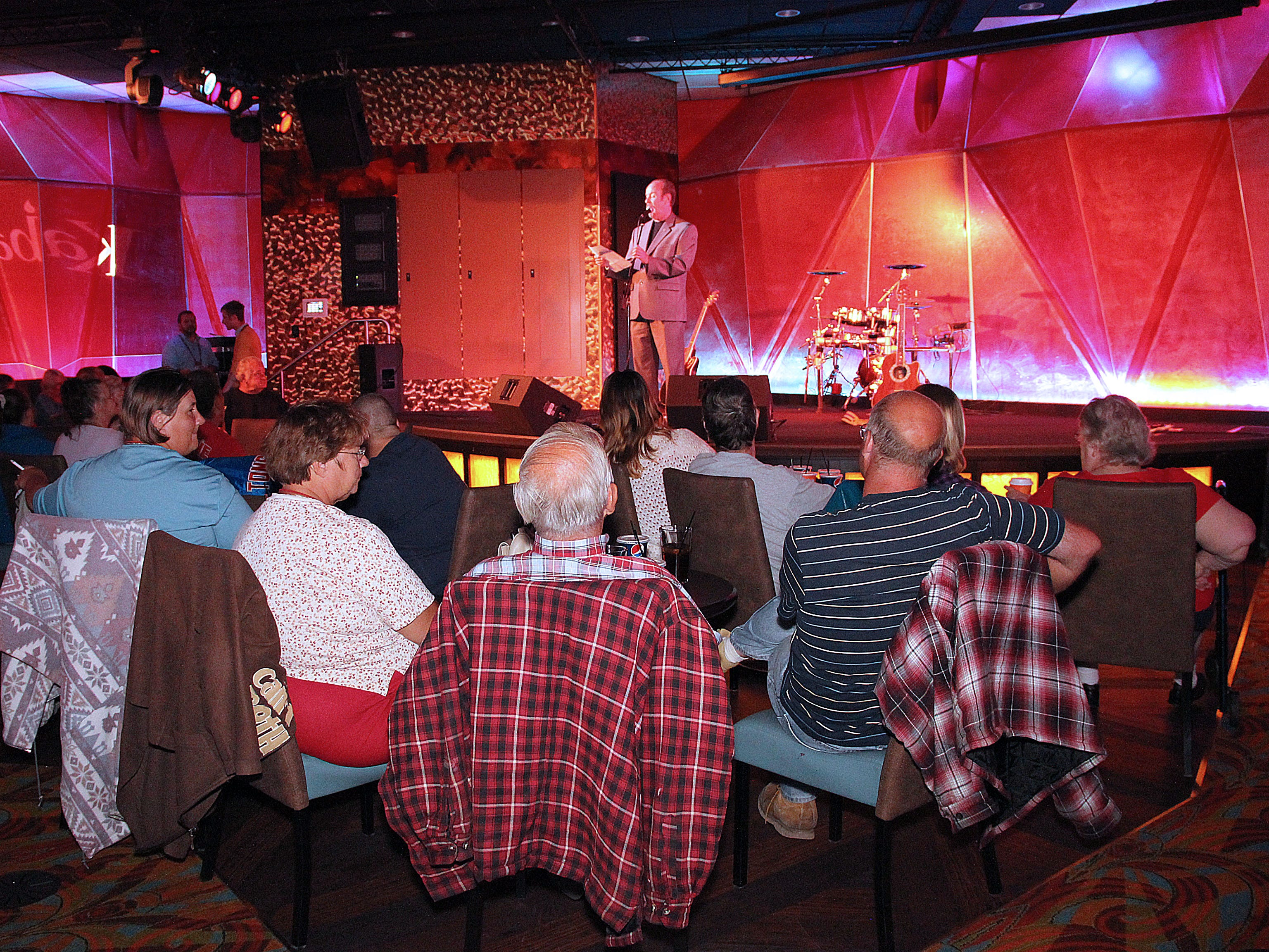 Gary Fields takes to the stage and warms up the audience before introducing The Human Juke Boxx at Kabaret of FireKeepers Casino in 2012.