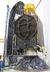 SpaceIL's Beresheet lunar lander, wrapped in gold foil, sits on top of the Nusantara Satu communications satellite, which is also carrying the Air Force Research Laboratory's S5 micro-satellite. The mission is targeting an 8:45 p.m. Thursday, Feb. 21, launch from Cape Canaveral by a SpaceX Falcon 9 rocket.