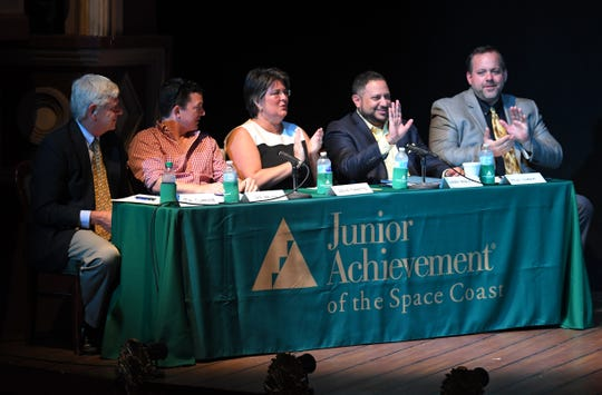 The judges for the 2019 Junior Achievement Blastoff Challenge were, from left to right, Jim Clamons, a retired vice president of engineering at Harris Corp.; Dan Balda, executive chairman of Medicomp and the Balda Family Foundation; Leslie Tibbetts, vice president of Bank of America; Mark Malek, CEO and managing partner of Widerman Malek law firm; and Milo Zonka, CFO of the Brevard County Property Appraiser's Office.