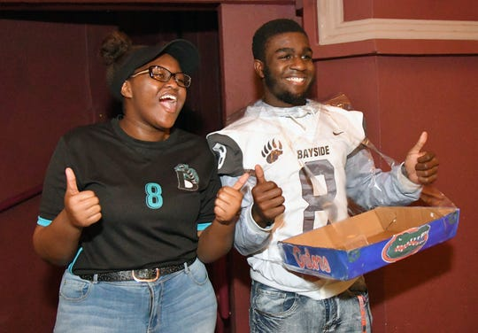 The winners of the 2019 Junior Achievement Blastoff Challenge were Gianna Forsythe and C.G. Goddard from Bayside High School, whose product was called Tray'Pron.