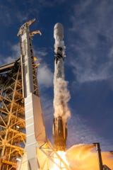 On Nov. 15, 2018, a SpaceX Falcon 9 rocket launched the Es'hail-2 communications satellite from Kennedy Space Center's pad 39A. Flying for the second time, the Falcon 9 booster was recovered and will attempt a third launch on Feb. 21, 2019, carrying an Indonesian communications satellite, Israeli lunar lander and experimental military satellite from Cape Canaveral Air Force Station.